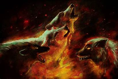Wolf Fire Wolves Wallpapers Ice Painting Alpha