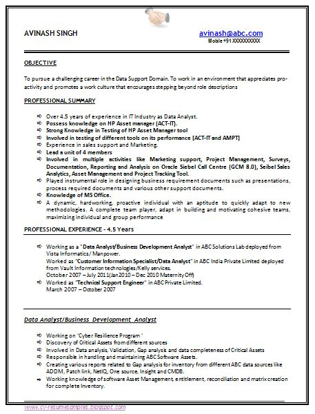 free b tech resume sle with work experience 1
