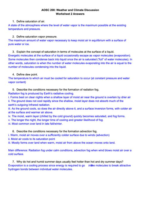 weather  climate discussion worksheet  answers