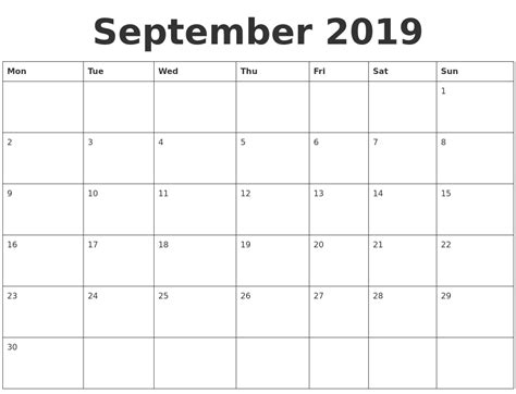 september blank calendar template