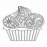 Cupcake Coloring Cup Cakes Cake Flowery Cupcakes Pages Adult Season Spring Perfect Anna sketch template