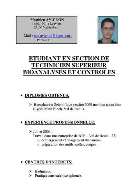 Cv Pour étudiant by Exemple De Cv 233 Tudiant Pour Bts Sle Resume