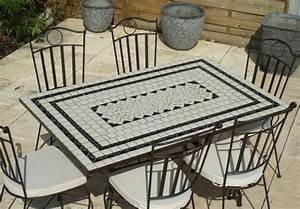 Table Mosaique Rectangulaire. table de jardin mosaique en pierre 4 ...