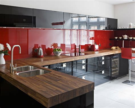 Red Backsplash Kitchen : Laminate Kitchen Backsplash Red