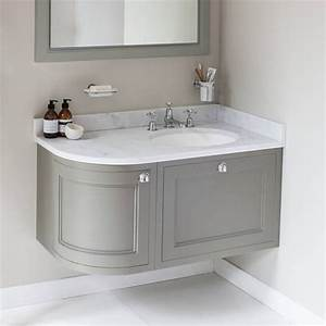 Burlington olive 1000mm wall hung curved vanity unit for Curved bathroom units