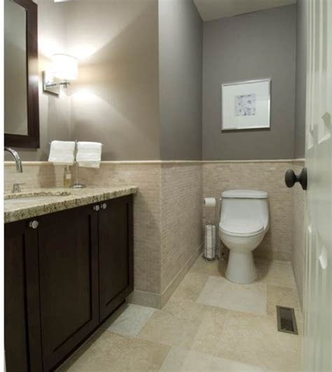 Bathroom Gray Paint With Beige Tile  House Remodel