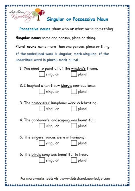grade  grammar topic  possessive nouns worksheets
