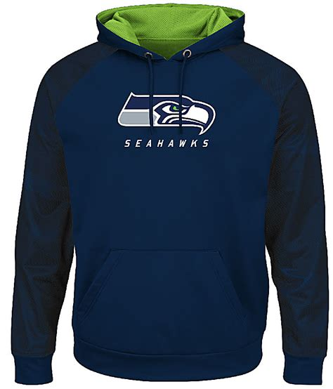 seattle seahawks navy armor  pullover synthetic majestic