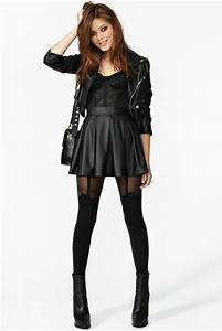 Dress outfit black leather skirt biker jacket lace bustier tights jacket tank top ...