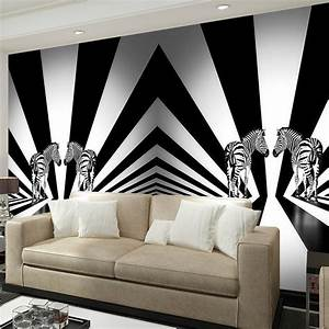Black, And, White, Zebra, Creative, Personality, Living, Room, Bedroom, Wallpaper, Backdrop, Animal