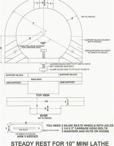 wood lathe steady rest plans blueprints  diy    build