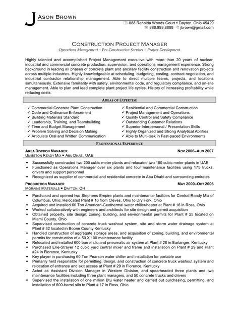 construction experience resumes 2016 construction project manager resume sample writing