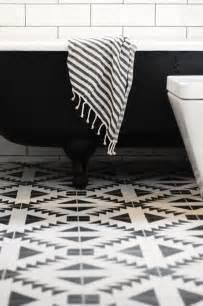 black white southwest modern tile floor bathroom simplified bee
