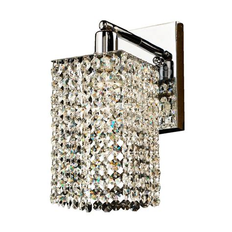 glow lighting fuzion 1 light square single layer crystal and chrome wall sconce 7w1lsp 702a 7c