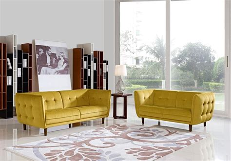 Yellow Leather Sofa Set by Contemporary Yellow Fabric Tufted Sofa Set With Wooden