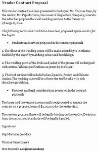 Vendor contract proposal sample proposals for Wedding vendor contract template