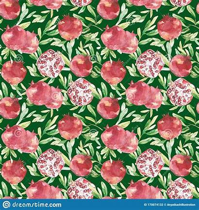 Spring Texture Watercolor Pomegranate Pattern Leaves Botanical