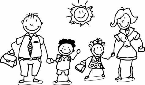 Happy Family And Children Coloring Page Wecoloringpage
