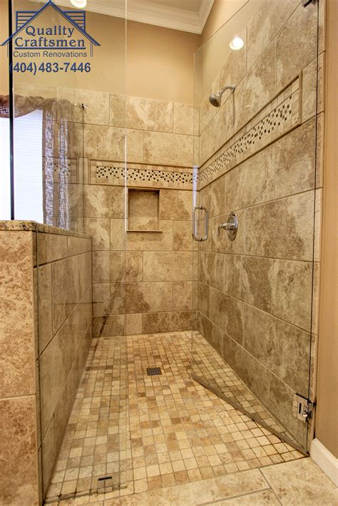 curb walk  master shower travertine tile