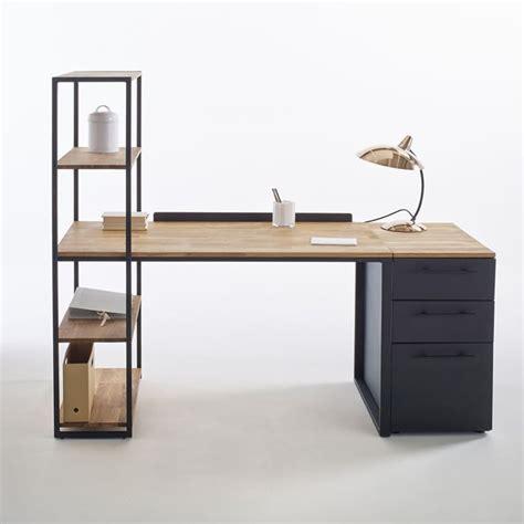 bureau hiba bureau bibliothèque métal et chêne massif hiba