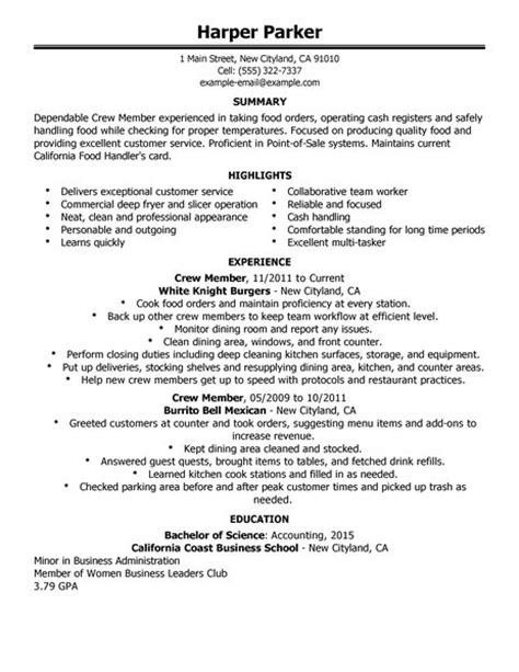 crew member resume exles food restaurant resume