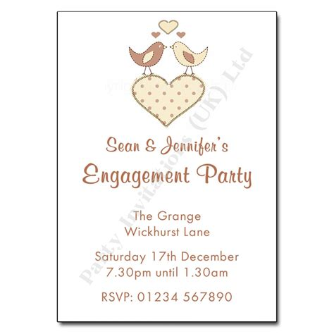 love birds engagement party invitation personalised