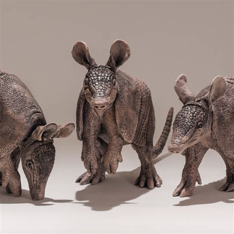 Three Armadillo Sculptures - Nick Mackman Animal Sculpture