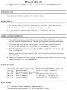 resume for fashion industry functional resume sle sales representative in fashion