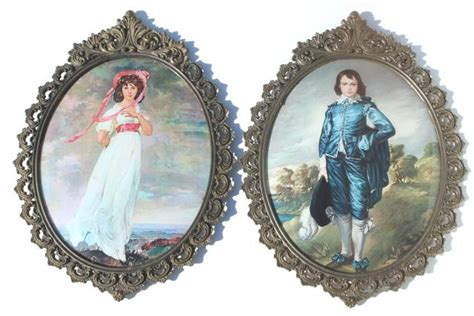 vintage italian ornate gold metal picture frames  curved convex glass pair  large prints