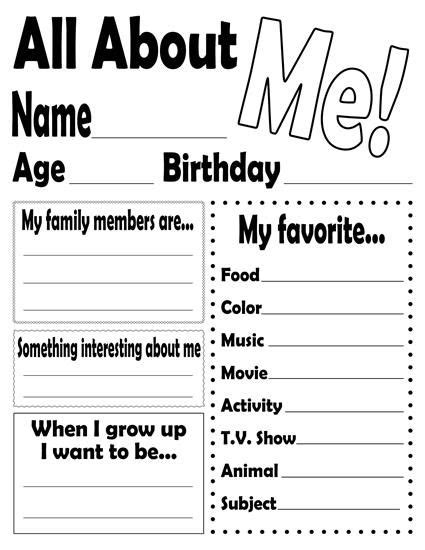 quot all about me quot free printable worksheet worksheets