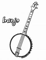 Banjo Coloring Pages Mandolin Pencil sketch template