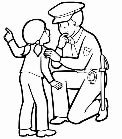 Police Officer Coloring Pages Clipart Printable Drawing