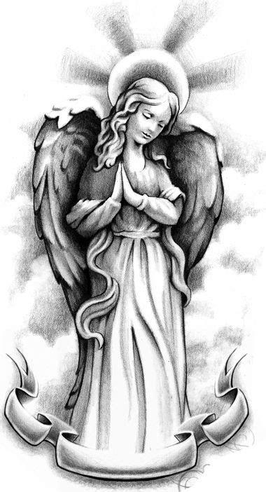 Standing praying angel with a memorial stripe tattoo design - Tattooimages.biz
