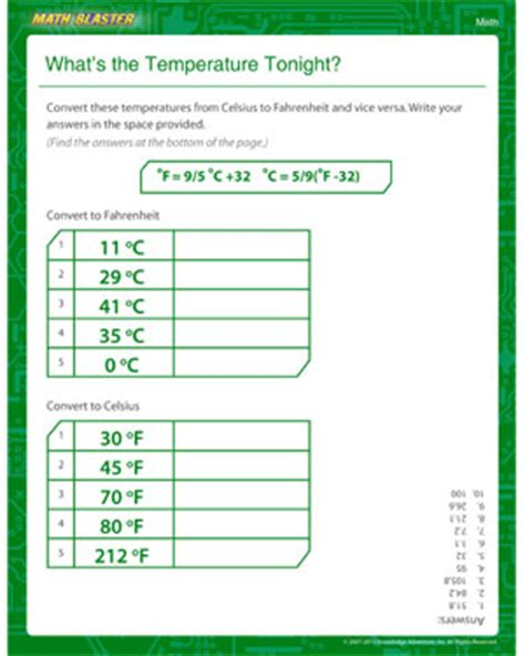what s the temperature tonight 5th grade math