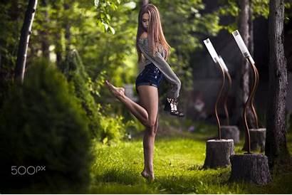 Shorts Heels Jean Skinny Outdoors Field Depth