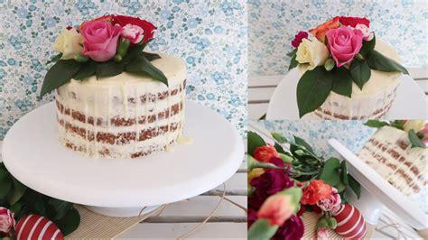 Naked Drip Cake Mit Echten Blumen, Ostertorte