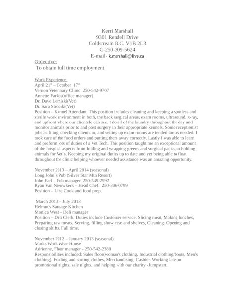 chronological kennel attendant resume template
