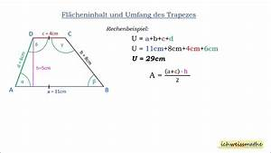 Mathe Flächeninhalt Berechnen : umfang und fl cheninhalt trapez youtube ~ Themetempest.com Abrechnung