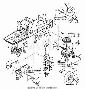Troy Bilt 13025 12 5 Gear Drive Tractor  S  N 130250100101  Parts Diagram For Brake  U0026 Clutch Assembly