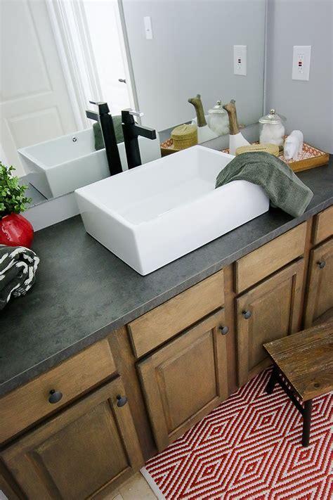 Kids Bathroom Sink Makeover   Laminate countertop