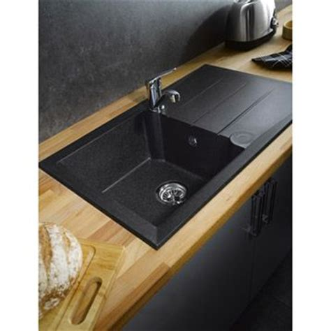 evier design cuisine évier 39 alinéo 39 résine noir planc de travail chêne huilé meuble gris 39 mystral 39 leroy merlin
