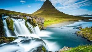 Wallpaper, Reykjavik, Iceland, Waterfall, River, Mountain