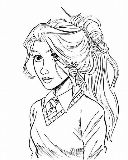 Luna Lovegood Coloring Hipster Potter Harry Drawing