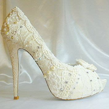 shabby chic wedding shoes lacey ivory wedding shoes with 5 1 4 from everlastinglifashion