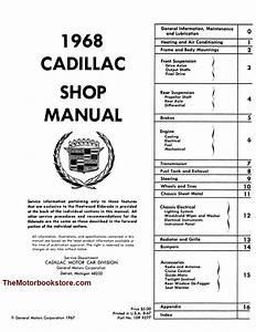 1968 Cadillac Oem Factory Shop Repair Manual Reprint By