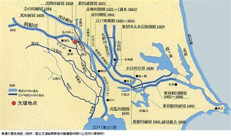東遷の歴史地図(提供:国土交通省関東地方整備局利根川上流河川事務所)