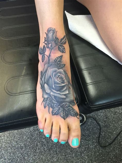 black  grey rose cover  foot tattoo tattoos