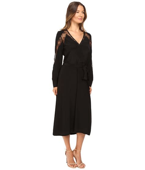 the kooples silk dress with lace overlay black zappos