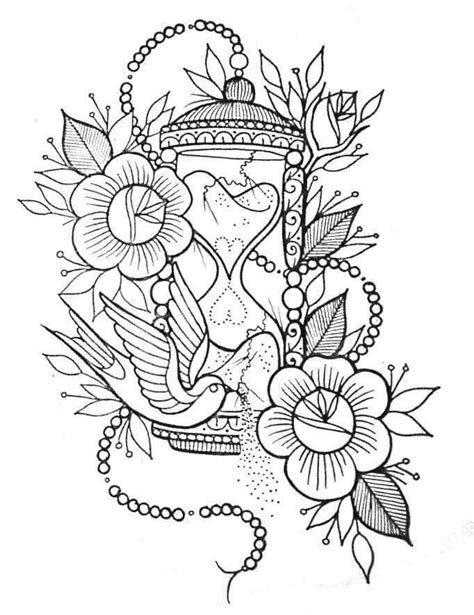 Flores   Tattoo design drawings, Coloring pages, Hourglass