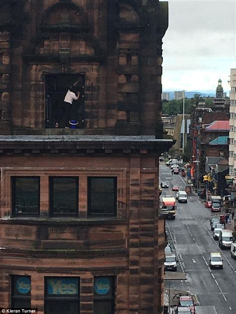 Window Ledge Outside by Glasgow Grandmother Perches Perilously On A Window Ledge